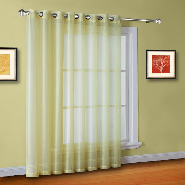 "102"" Extra Wide Sheer Lime Yellow Patio Door Curtains or Room Dividers"
