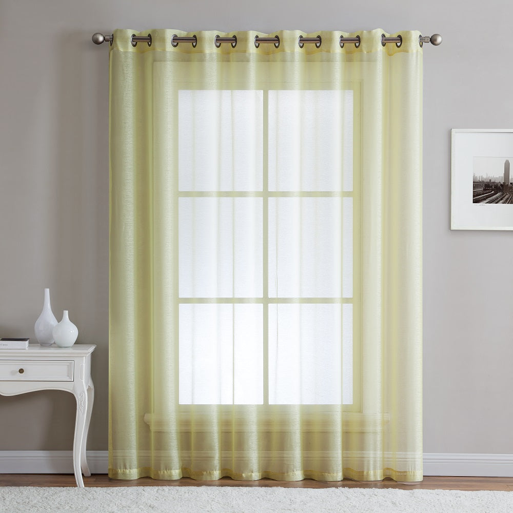 "Warm Home Designs 1 Panel of 102"" Extra Wide Linen Textured Sheer Lime Yellow Patio Door Curtains"