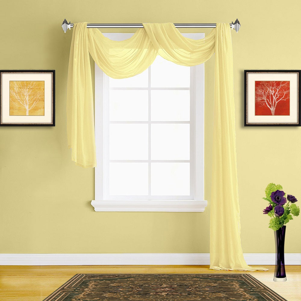 Warm Home Designs Lime Yellow Sheer Curtains & Yellow Window Scarf ...