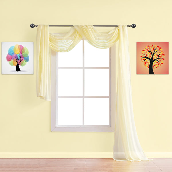 Warm Home Designs Pair of Light Yellow Sheer Curtains or Extra Long Window Scarf