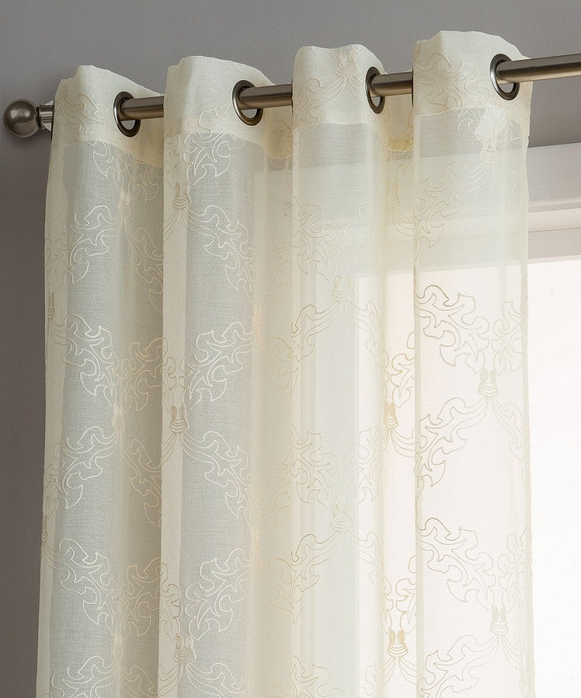 warm home designs sheer beige curtain panels with beige embroidery. Black Bedroom Furniture Sets. Home Design Ideas
