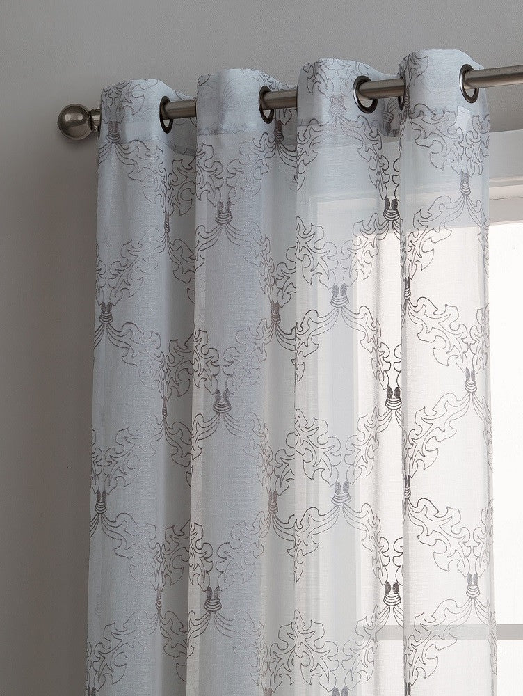 Warm Home Designs Sheer Silver Curtain Panels with Gray Embroidery