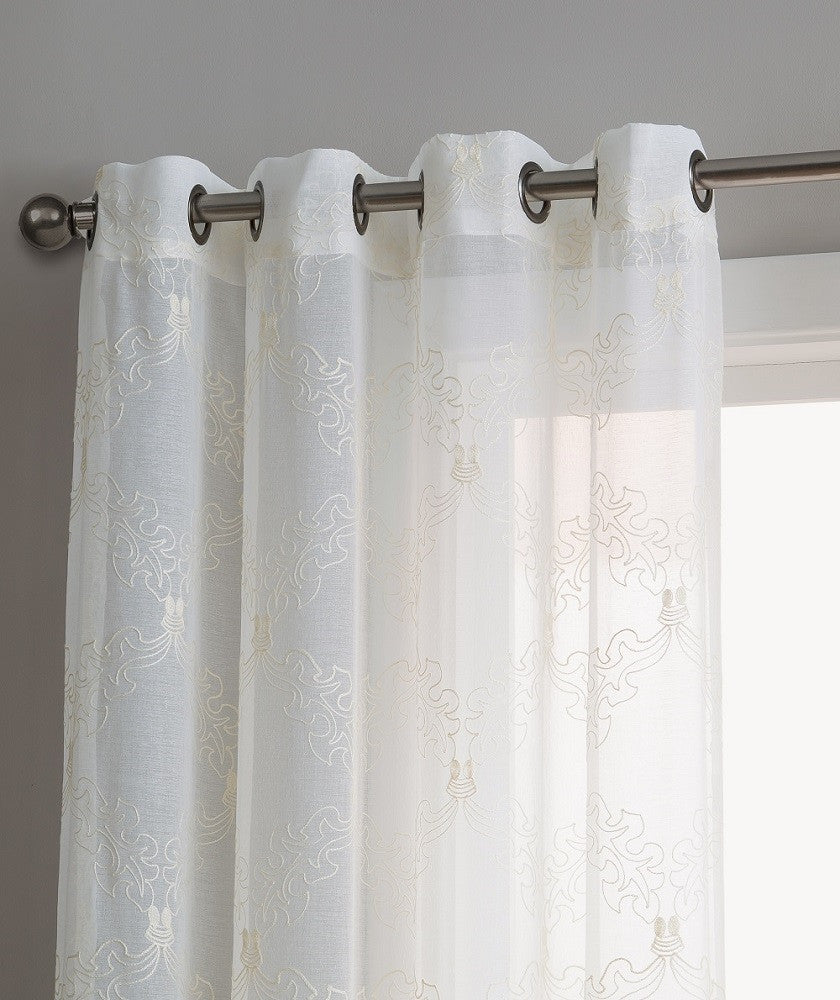 Warm Home Designs Sheer White Curtain Panels with Beige Embroidery