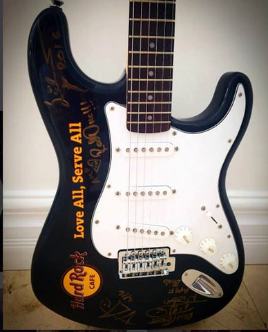 Hard Rock Café Guitar - Signed by Yngwie Malmsteen, Steve Vai, Nicko McBrain and RedOne