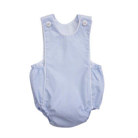 Adorable blue and white stripe romper suit is sure to be a wardrobe go-to for this summer. With buttons at the front that add style and, elastic band finish and lined to ensure comfort. 100% Cotton.   MACHINE WASHING MAX 30°C / 85ºF SHORT SPIN DRY DO NOT BLEACH IRONING MAX 110°C / 230ºF DO NOT DRY CLEAN DO NOT TUMBLE DRY front