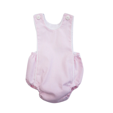 This adorable dusty pink and white stripes romper suit is sure to become a wardrobe go-to for this summer. With front buttons, elastic finish and cotton lining, they ensure style and comfort for your little one. 100% Cotton. Pair it with our Luna White Baby Shirt for the perfect polished look.   MACHINE WASHING MAX 30°C / 85ºF SHORT SPIN DRY DO NOT BLEACH IRONING MAX 110°C / 230ºF DO NOT DRY CLEAN DO NOT TUMBLE DRY front