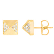 Aegis White Diamond Pyramid Studs