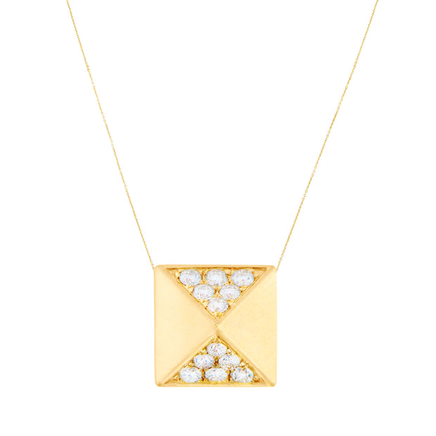 Aegis White Diamond Pyramid Pendant