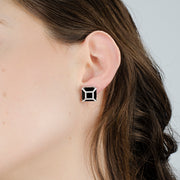 Diamond Framed Black Onyx Studs