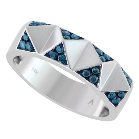 Aegis Blue Diamond Pyramid Ring