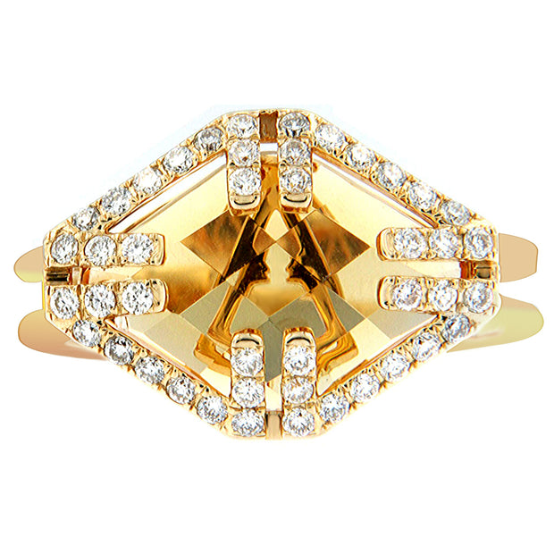 Aegis Caged Citrine Geometric Ring