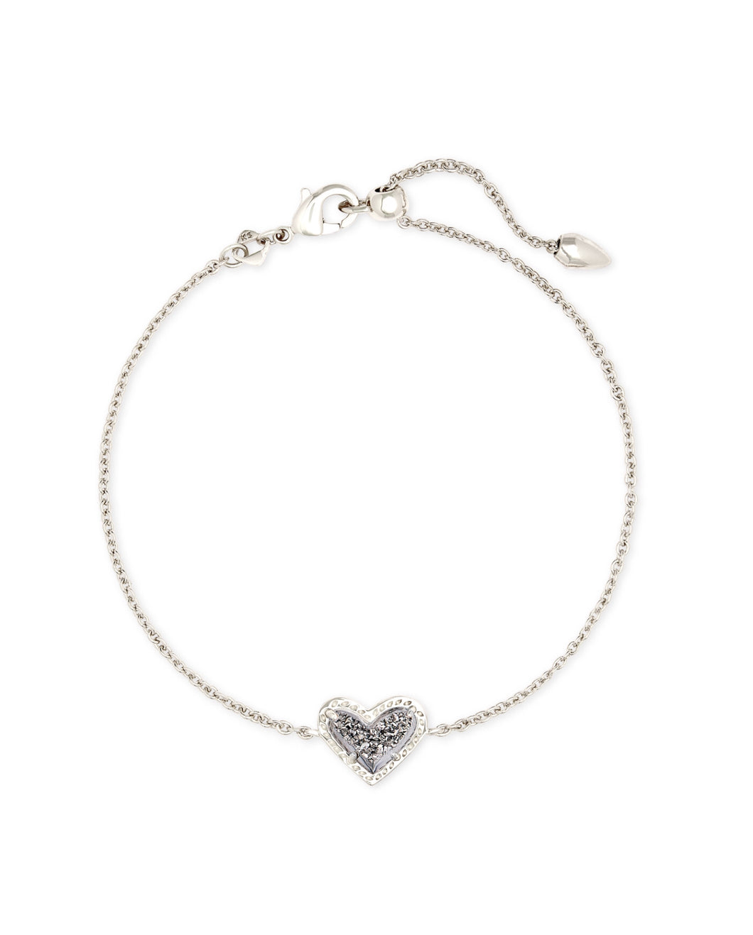 Kendra Scott: Ari Heart Delicate Bracelet - Platinum Drusy - The Vogue Boutique