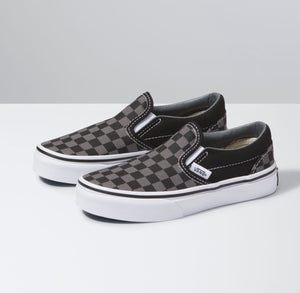 Vans: Children's Classic Slip-On Black & Pewter Checkerboard - The Vogue Boutique