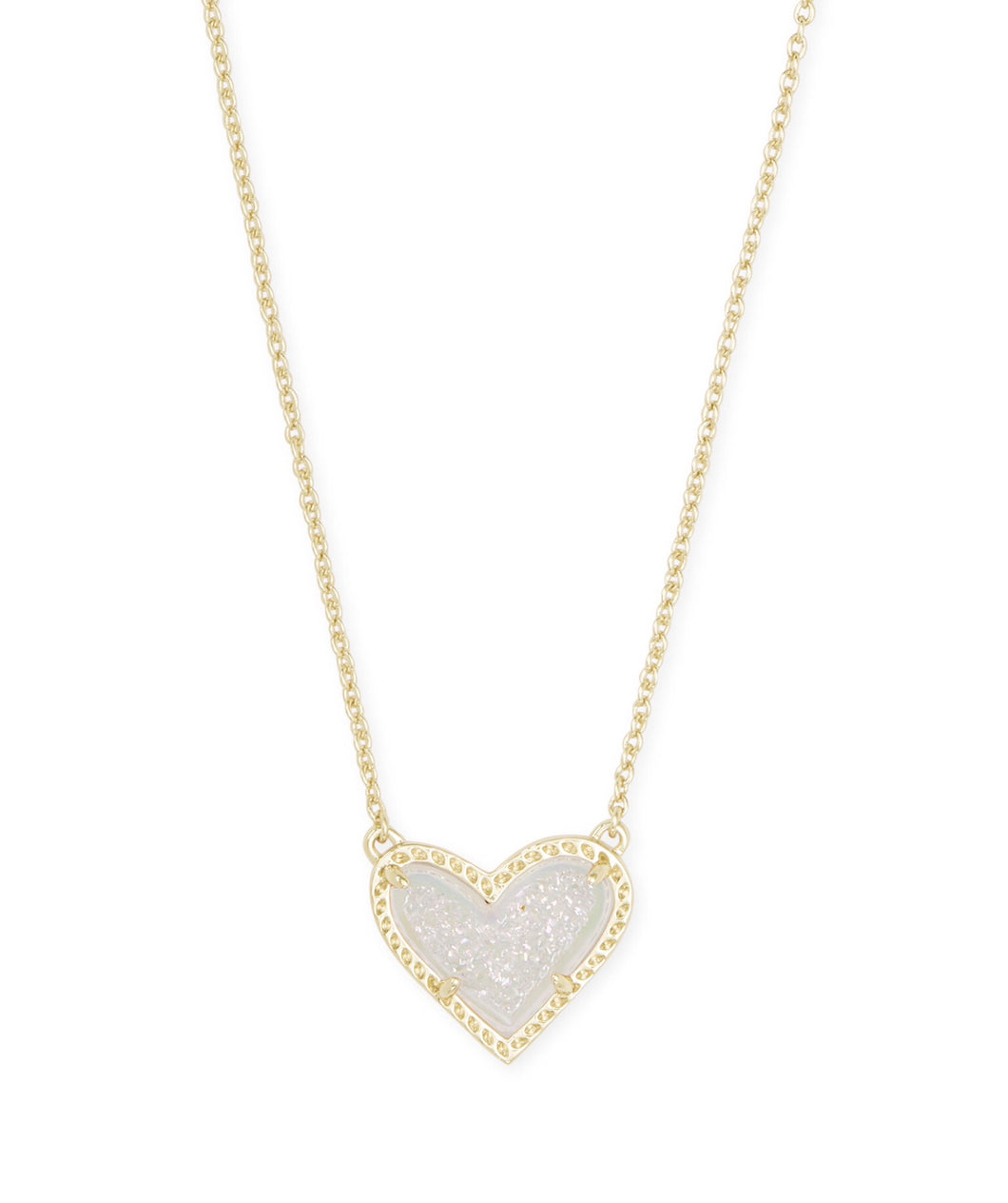 Kendra Scott: Ari Heart Short Necklace - Gold Iridescent Drusy - The Vogue Boutique