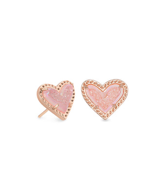 Kendra Scott: Ari Heart Stud - Rose Gold Pink Drusy - The Vogue Boutique