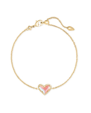 Kendra Scott: Ari Heart Delicate Bracelet - Gold Dichroic Glass - The Vogue Boutique
