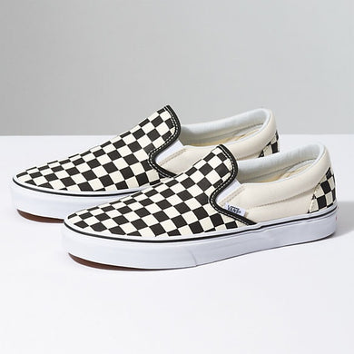 Vans: Classic Slip On - Black & White Checkerboard/White - The Vogue Boutique