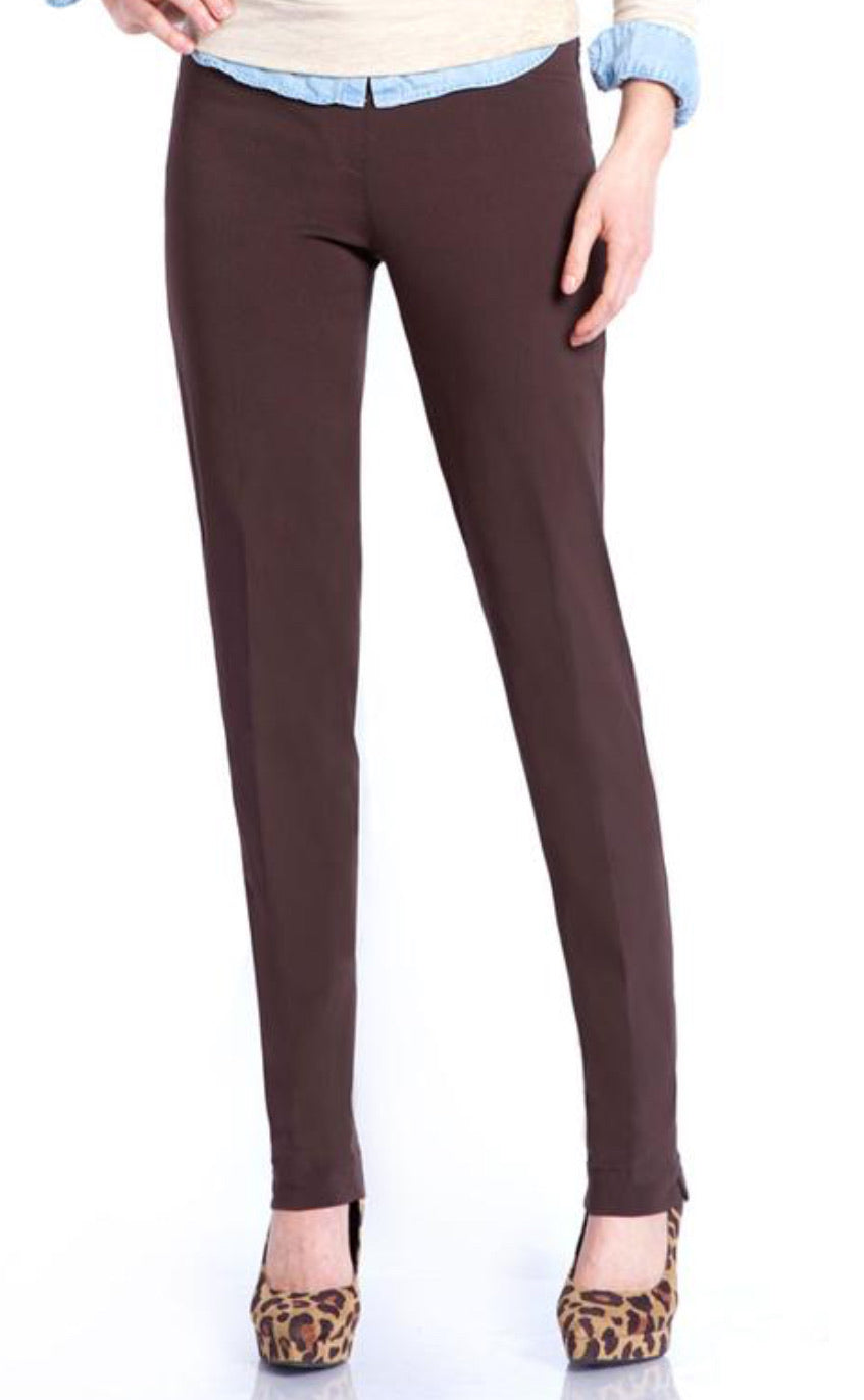 Multiples: Slim-Sation Narrow-Leg Pant in Chocolate - M2604P - The Vogue Boutique