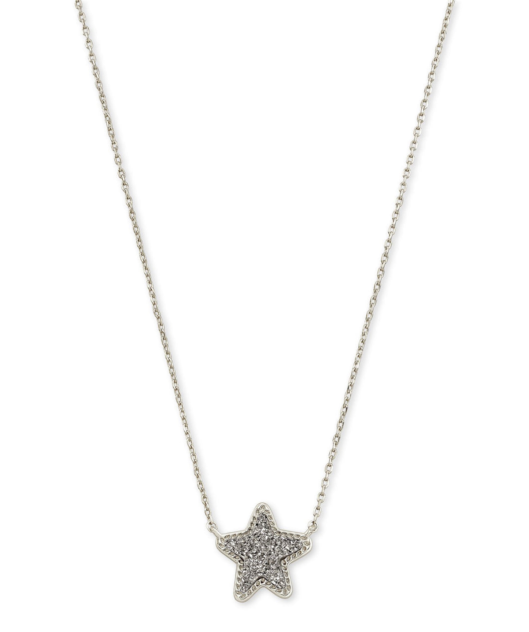 Kendra Scott: Jae Star Pendant Necklace - Silver Platinum Drusy