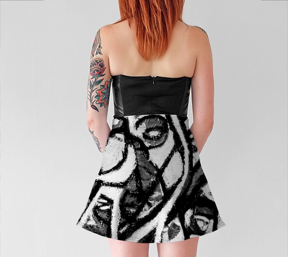 Charlee The Messenger Flare Skirt in Black and White