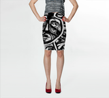 Charlee The Messenger Pencil Skirt in Black and White