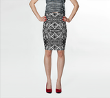 Charlee Shears Pencil Skirt in Black and White
