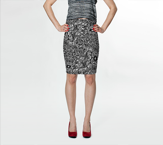 Charlee The Dream Pencil Skirt in Black and White
