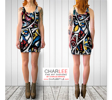 Charlee The Messenger Bodycon Dress in BW