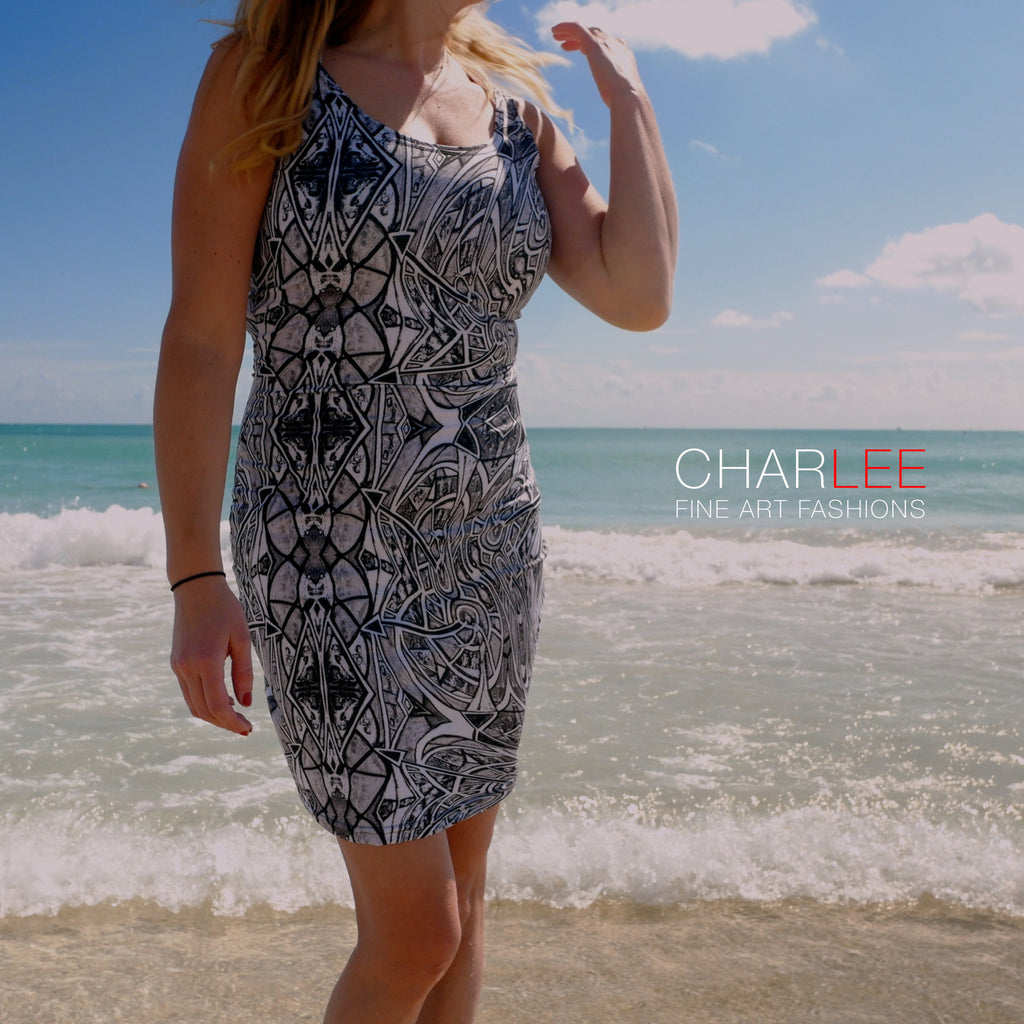 Charlee Time Lapse Bodycon Dress in BW