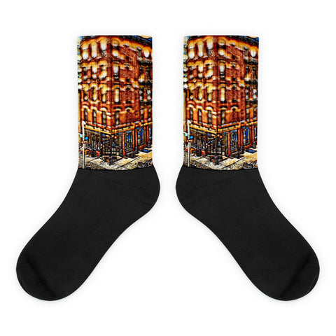 Charlee NYC Brooklyn Bridge Black foot socks