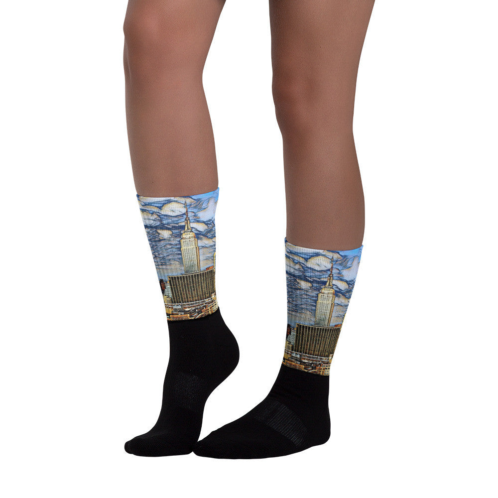Charlee NYC Empire State Building Black foot socks