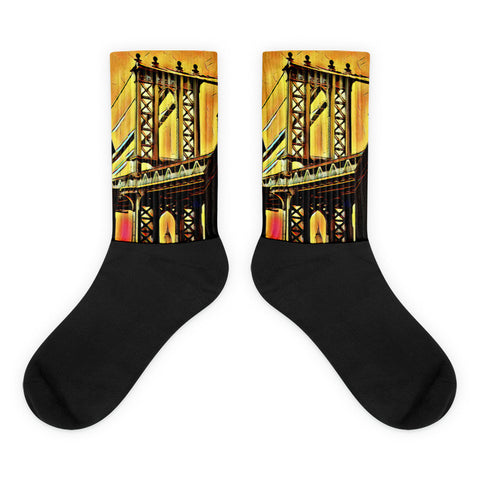 Charlee NYC Artichokes Chelsea Black foot socks