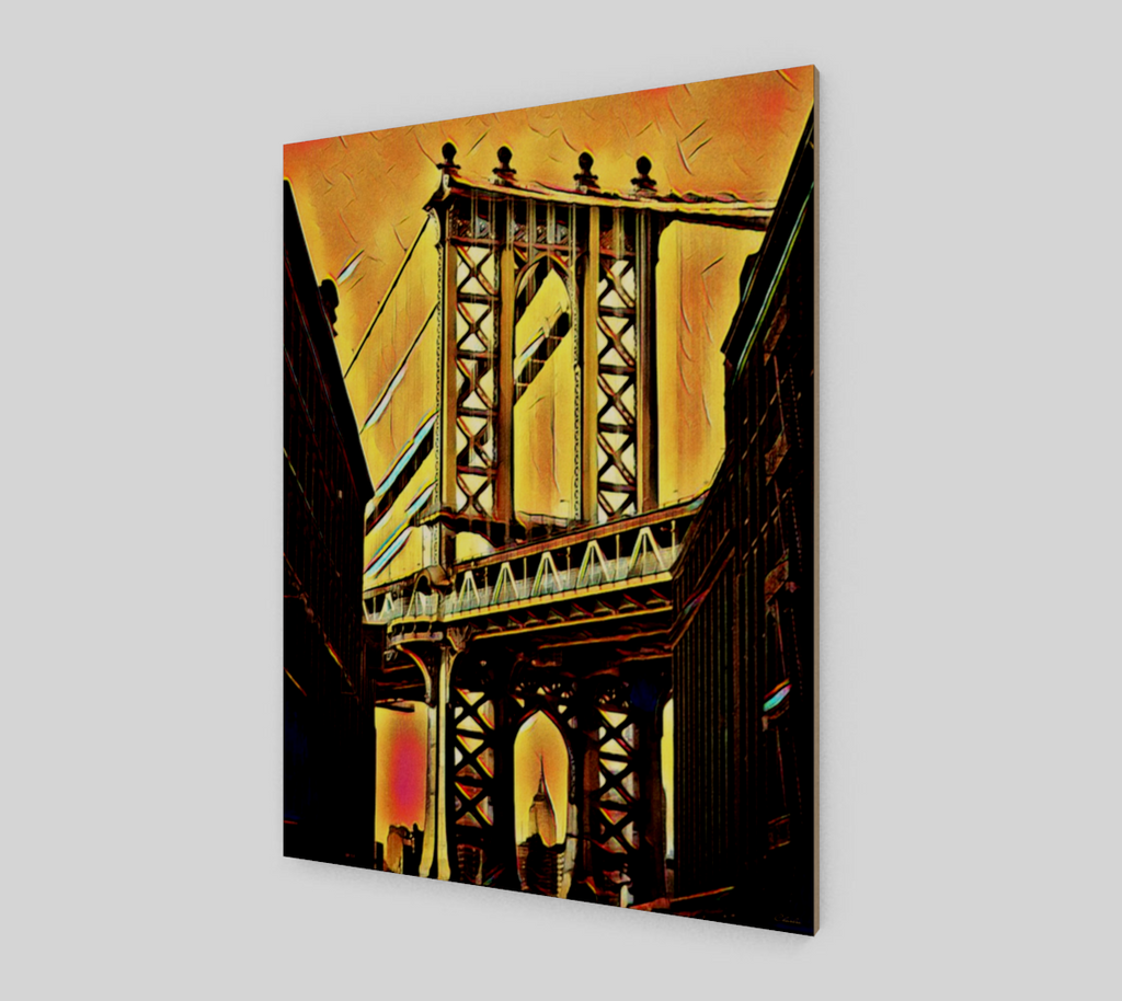 Charlee Brooklyn Bridge Wood Giclée Home Decor Wall Prints