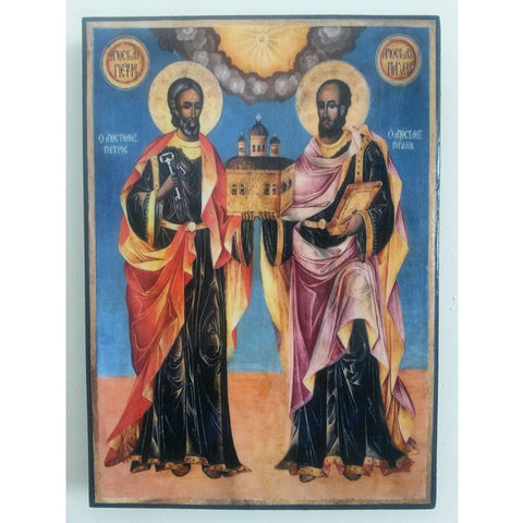 """Saints Peter and Paul"" Christian Icon 8x6"" (21x15cm)"