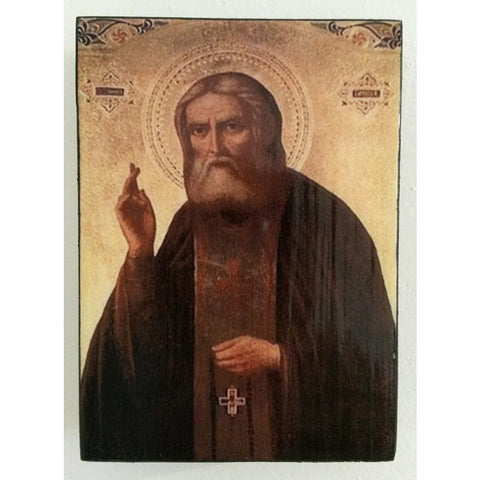 """Saint Seraphim"" Christian Icon 4x3"" (11x8cm)"