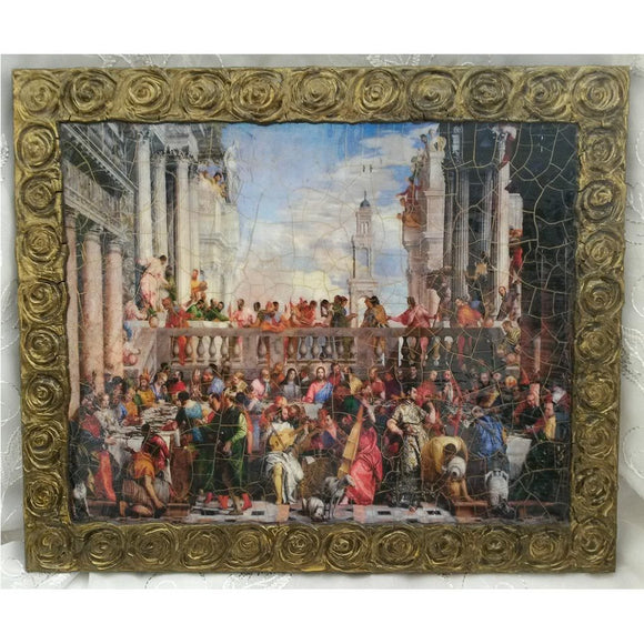 The Wedding at Cana Wooden Print Painting 14x12
