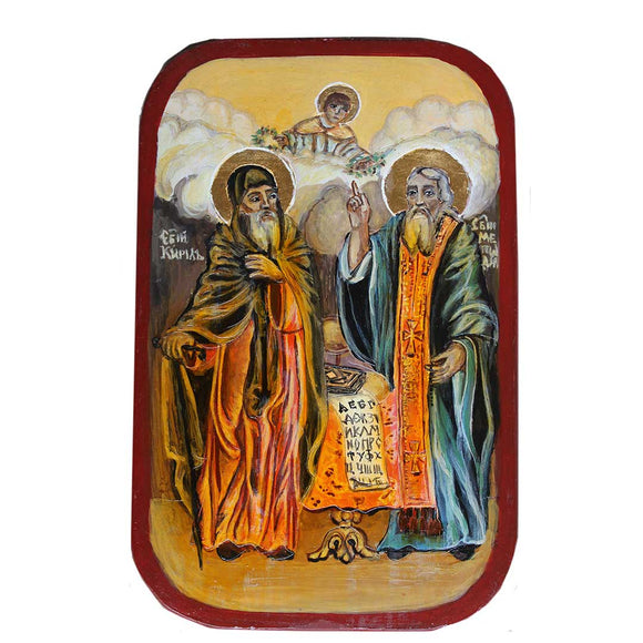 Saints Cyril and Methodius, Christian Icon 9x6 in / 23x15 cm
