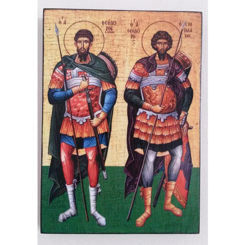 """Tyrone and Stratilat"" Christian Icon 8x6"" (21x15cm)"