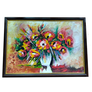 "Vase with Flowers, Mixed Painting 16x22"" (40x55cm)"