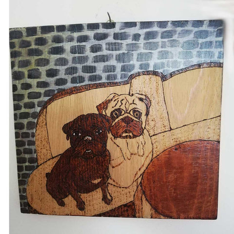"Dogs, Pyrophaphy Wooden Artwork 12x11"" (30x27cm)"