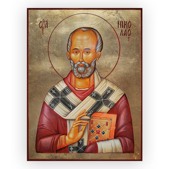 Saint Nicholas, Tempera Painted Christian Icon by Iva Donkova