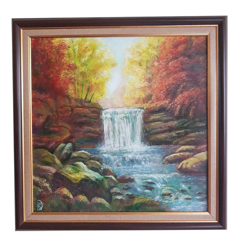 "Waterfall, Oil Painting 16x16"" (40x40cm)"