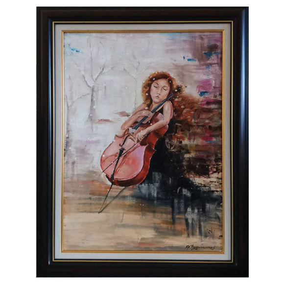 Cellist, Oil Painting 27x20 in / 68x52 cm