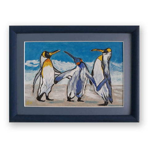 The Penguins, Acrylic Painting by Daniela Georgieva