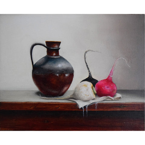 Turnips, Oil Painting 13x16 in / 33x41 cm