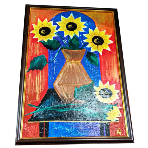 "Sunflowers, Mixed Painting 18x26"" (45x65cm)"