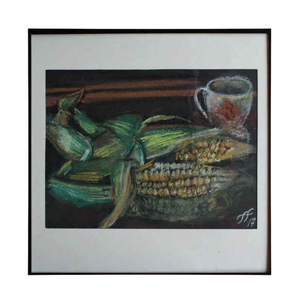Still Life with Corn, Crayon Painting by Ani Georg
