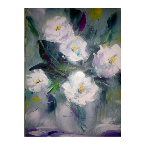 "White Flowers, Oil Painting 9x7"" (24x18cm)"