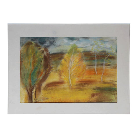Autumn Landscape, Crayon Painting by Ani Georg