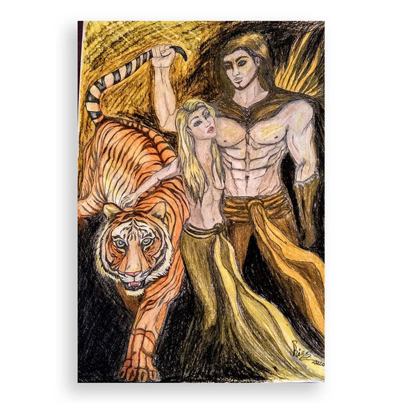 The Tiger's Tail, Oil Pastel Painting by Milena Valkanova